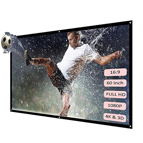 Docooler Draagbaar Projector Scherm HD 16:9 Wit Opvouwbaar Diagonaal Projectiescherm Home Theater voor Wandprojectie Binnen Buiten, 60Inch, Kleur: wit