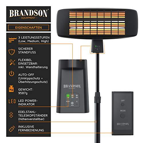 Brandson - Heizstrahler mit Fernbedienung | Wärmelampe Terrassenheizstrahler | 3 Leistungsstufen Heizelemente | Inkl. Fernbedienung | LED Power-Indikator | Wandhalterung