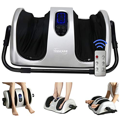 TISSCARE Foot Massager Machine with Heat, Shiatsu Foot and Calf Massager for Plantar Fasciitis and Neuropathy, with Deep Kneading, Increases Blood Flow Circulation W/Remote Control (Up-Silvergray)