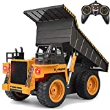 kolegend Remote Control Dump Truck 4WD 6 Channel Full Function Construction Toy Vehicle Machine Model with Lights, 1/18 Scale Rechargeable RC Truck for Kids, Gifts for Boys Girls (1540)