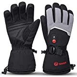 Rechargeable Heated Gloves Battery Electric Ski Gloves with 3 Heating Levels Touchscreen Waterproof Gloves for Men & Women