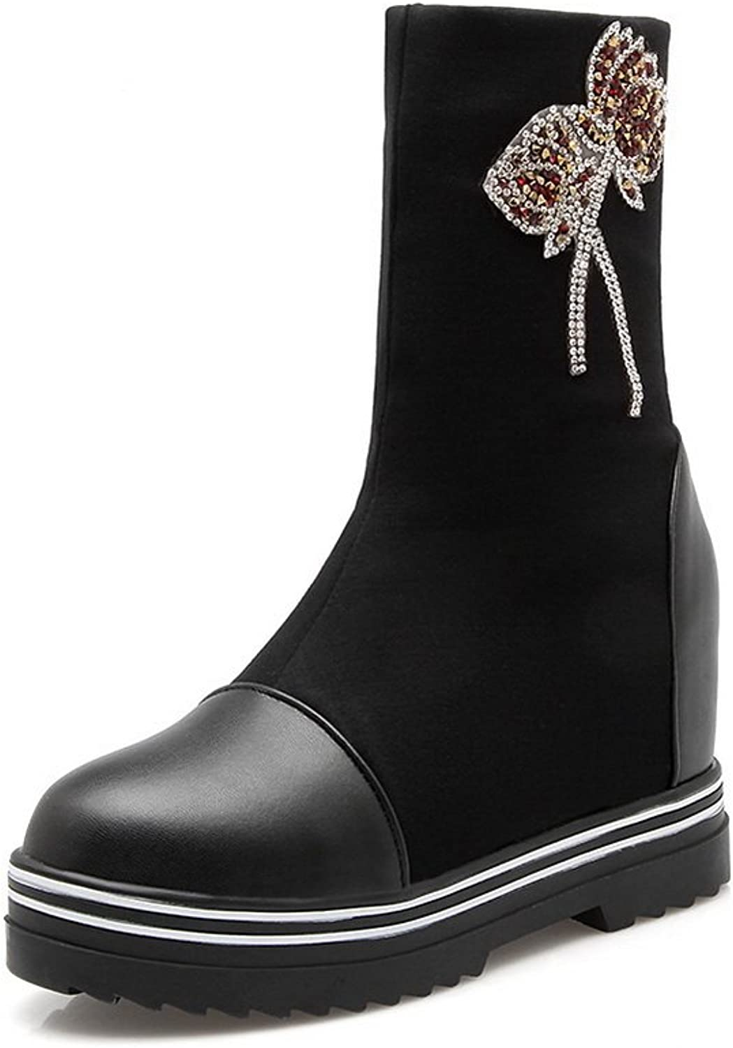 AdeeSu Womens Platform Two-Toned Embroidered Glass Diamond Imitated Leather Boots