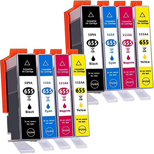B-T Compatible Cartuchos de Tinta Reemplazo para HP 655XL 655 CZ109AE CZ110AE CZ111AE CZ112AE para HP Deskjet Ink Advantage 3525 4615 4625 5525 6520 6525(8 Pack)