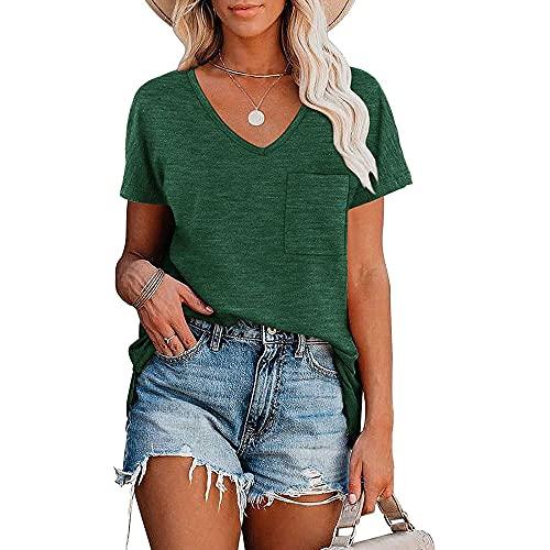 Camisa Mujer Camiseta Mujer Elegante Cómodo Color Puro Simple con Cuello En V Blusa Suelta Y Transpirable Verano Sexy Tela Suave Camiseta Fresca Y Transpirable De Manga Corta F-Dark Green XL