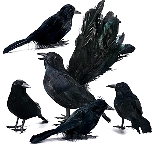 Orgrimmar 5 PCS Black Feather Crows Halloween...