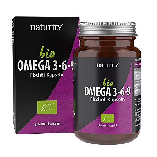 BIO OMEGA 3-6-9 Fischöl-Kapseln, hochdosiert mit Omega 3, 6 & 9 Fettsäuren, aus Bio-Fischöl, zur Unterstützung der Herz- & Gehirnfunktion (60 Kapseln)