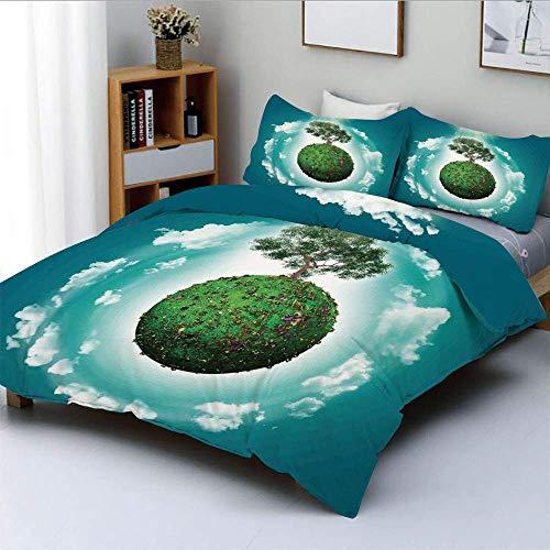 Bettbezug-Set, Grassy Globe World mit Pflanzenwolken in Air Science Fiction Mutter ErdeDekoratives 3-teiliges Bettwäscheset mit 2 Kissenbezügen, Grün Blau Weiß, Kinder & Pfleg