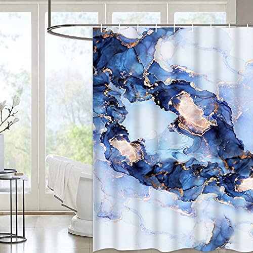 Ikfashoni Marble Shower Curtain, Modern Abstract Shower Curtain with 12 Hooks, Navy Blue Luxury Bathroom Shower Curtain, Gold Geometric Shower Curtain, Fabric Art Shower Curtain, 72' x 72'