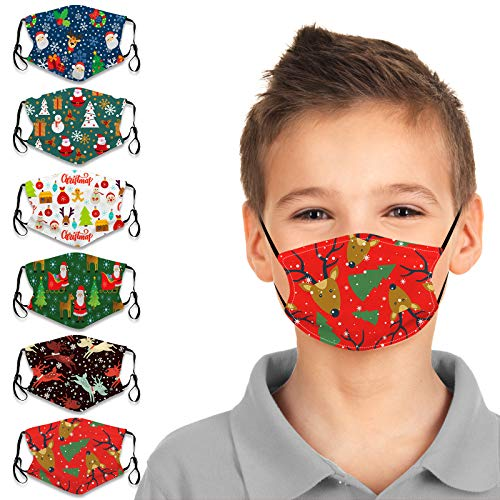 Micyon 6Pcs Kids Christmas Themed Face Bandanas Washable Earloop Bandanas Face Cotton Dust Protection for Toddlers Children