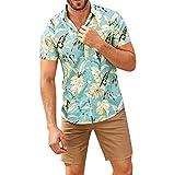 ZODOF Camisa Hawaiana enrrollada HombresManga Corta Bolsillo Frontal Hawaiano-Imprimir