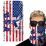 Huryfox Face Bandana, American Flag Neck Gaiter, 4th of July Non-Slip Face Cover for Men and Women for Motorcycle, Fishing, Sailing, Ski Snowboard (18.8'' L x 9.4'' W)