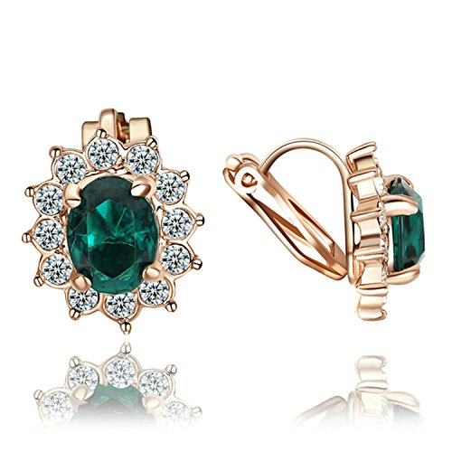 Yoursfs nozze Orecchini a clip per abito da sposa di cristallo verde smeraldo gioielli per Lady 18ct oro rosa placcato orecchini