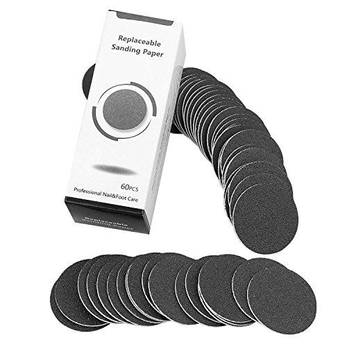 Liseng 60 discos de papel de lija de repuesto para herramienta de pedicura de lima de pies eléctricos.