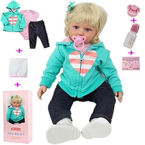 ZIYIUI 24 Pulgadas Realista Suave Vinilo Silicona Reborn muñeca Linda Bebe Reborn niña niña Pelo Largo 60 cm muñeca Real (24 Pulgadas)