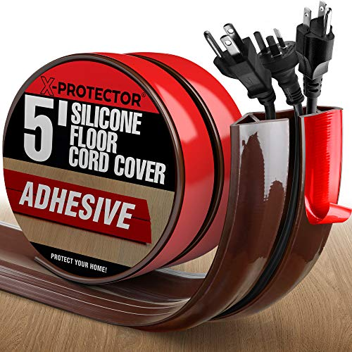 Floor Cord Cover X-Protector –5' Silicone Cord Protector – Cable Cover for Floor Big Hole – Ideal Extension Cord Cover to Protect Wires On Floor – Self-Adhesive Power Cable Protector (Brown)
