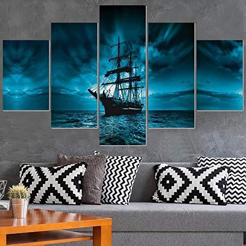 CSDECOR 5 pinturas de pared modulares de 200 x 100 cm, cuadro moderno impreso en alta definición para pared, 5 paneles, barco pirata, decoración del hogar, carteles de sala de estar sobre lienzo