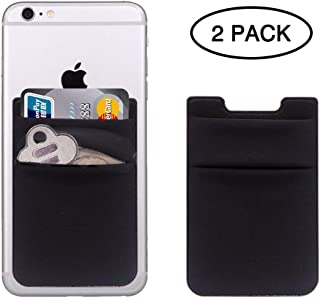 CASZONE Credit Card Holder for Back of Phone Stick On Wallet Case, 2-Pack Stretchy Lycra 3M Adhesive Multi-Card Slot Pockets Sleeves for Most Smartphones(iPhone/iPad/All Android), Black