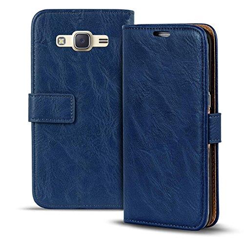 Verco Galaxy J1 (2016) Hülle, Premium Handy Schutzhülle für Samsung Galaxy J1 Hülle PU Leder Wallet Tasche Retro Flipcase, Blau