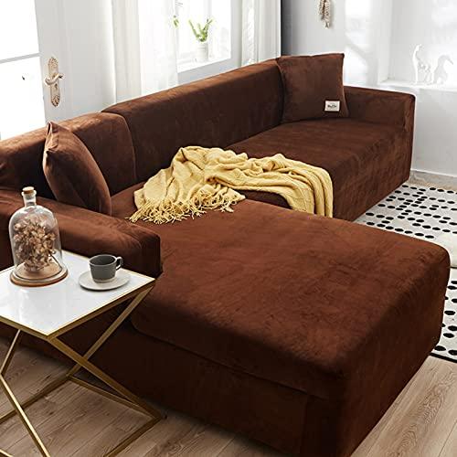 Capa de sofá seccional, canto em forma de L, capa de sofá para canto, capa de sofá de poliéster macio, protetor de móveis, cadeira de café 90~140 cm