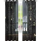 YUAZHOQI Cortina de ventana con decoración gótica, luna llena de pájaros, cuento de hadas de...