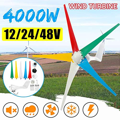 LWQ Wind Turbines 12/24 / 48V AC Permanent Wind Turbines Generator 4000W 5-Nylon Blades Haushalt Generator w/Controller für Solar-Straßenbeleuchtung,24V