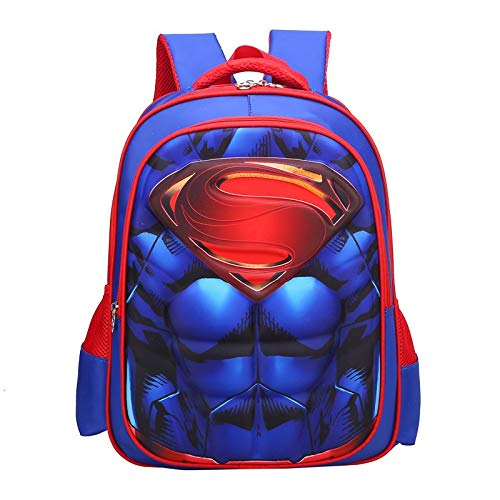 Jungen Schultasche Guards Fledermaus Superman Rucksack Schultasche Kinder Schulter zu Schulter Grundschule Junge Helden Captain 3D harte Muskeln, 5