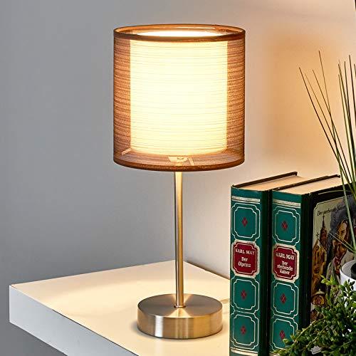 Lámpara de mesa Nica (Moderno) en Gris hecho de Textura, Tela, Tejido, Seda e.o. para Salón & Comedor (1 llama, E14, A++) de Lindby   lámpara de mesa textil