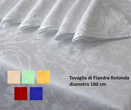 Biancheria&Casa Tovaglia Rotonda 8 posti di Fiandra con Tovaglioli puro cotone : Colore - Salmone