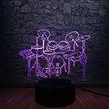 3D Illusion Lamp Nuevo instrumento musical Jazz Drum Set 3D Led Night Light Luminaria Illusion Multicolor Gradient Lamp Lampara Music Fans Kid Gift