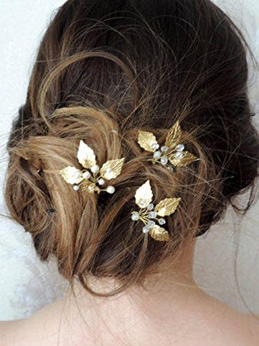 kercisbeauty Simple Vintage hojas de oro y plata con perla cristal boda accesorios para el pelo boda pelo pasadores para pelo de novia cristal pelo pines regalo boda accesorios para el pelo (Set de 3)