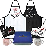rnairni Mr & Mrs Right Happy Couple Mug Aprons, Best Valentine's Day Gifts | Bronzing Gift Box - Apron, Gloves, Mats, Coffee Mugs Cups, Greeting Cards | Wedding Gift for Couples Boyfriend Girlfriend