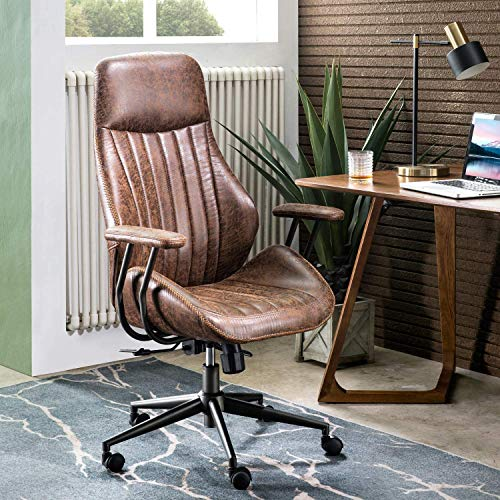 ovios Modern Computer Desk Chair, Ergonomic Office Chair, high Back Suede Fabric Desk Chair with Lumbar Support for Executive or Home Office (Dark Coffee)