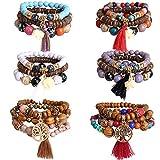 Hicdaw 6 Sets Bohemian Bracelets for Women Multilayer Tassel Bracelet Set Gifts for Women Girls