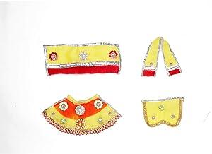 Light Yellow & Red Laxmi Ganesh Dress poshak vastra Cloth Lehenga Chunari Dhoti Puja Item samgari Radha Krishna Dress for ...