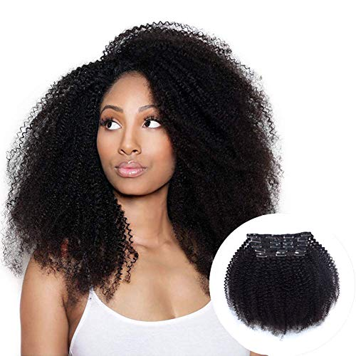 Vanalia 4A 4B Clip Ins for Black Women, Kinky Coily Human Hair Clip in Hair Extensions, 9A Brazilian Remy Human Hair, Double Lace Wefts Natural Black, 120 Gram,16 Inch