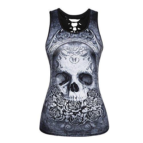 Camisetas sin Mangas Mujer,Lenfesh Camiseta gótico Mujer Negro Punky