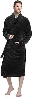 Mens Fleece Robe Plush Collar Shawl Bathrobe