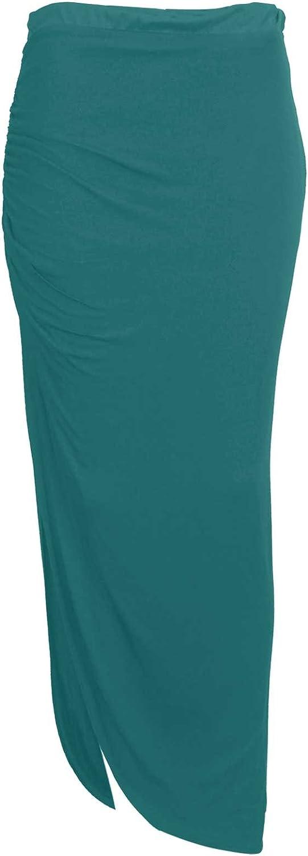 Baleza Women's Jersey Long Gipsy Gather Side Cut Out Maxi Skirt S/M 8-10 Teal