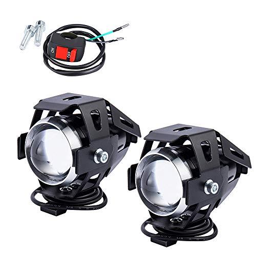 Fari aggiuntivi per moto da 125 W, fari anteriori a LED, fendinebbia, proiettore LED per moto, 3000 lm, impermeabile, con interruttore on/off