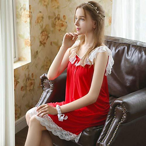 YRTHOR Mujeres Homewear, Ropa de Dormir Vestido de Noche Nuisett Lace Mesh Nightwear Camisón Ropa de Dormir,Vino Rojo,L