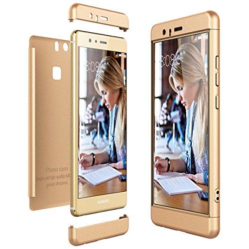 CE-Link Cover per Huawei P9 360 Gradi Full Body Protezione, Custodia Huawei P9 Silicone Rigida Snap On Struttura 3 in 1 Antishock e Antiurto, Huawei P9 Case AntiGraffio Molto Elegante - Oro