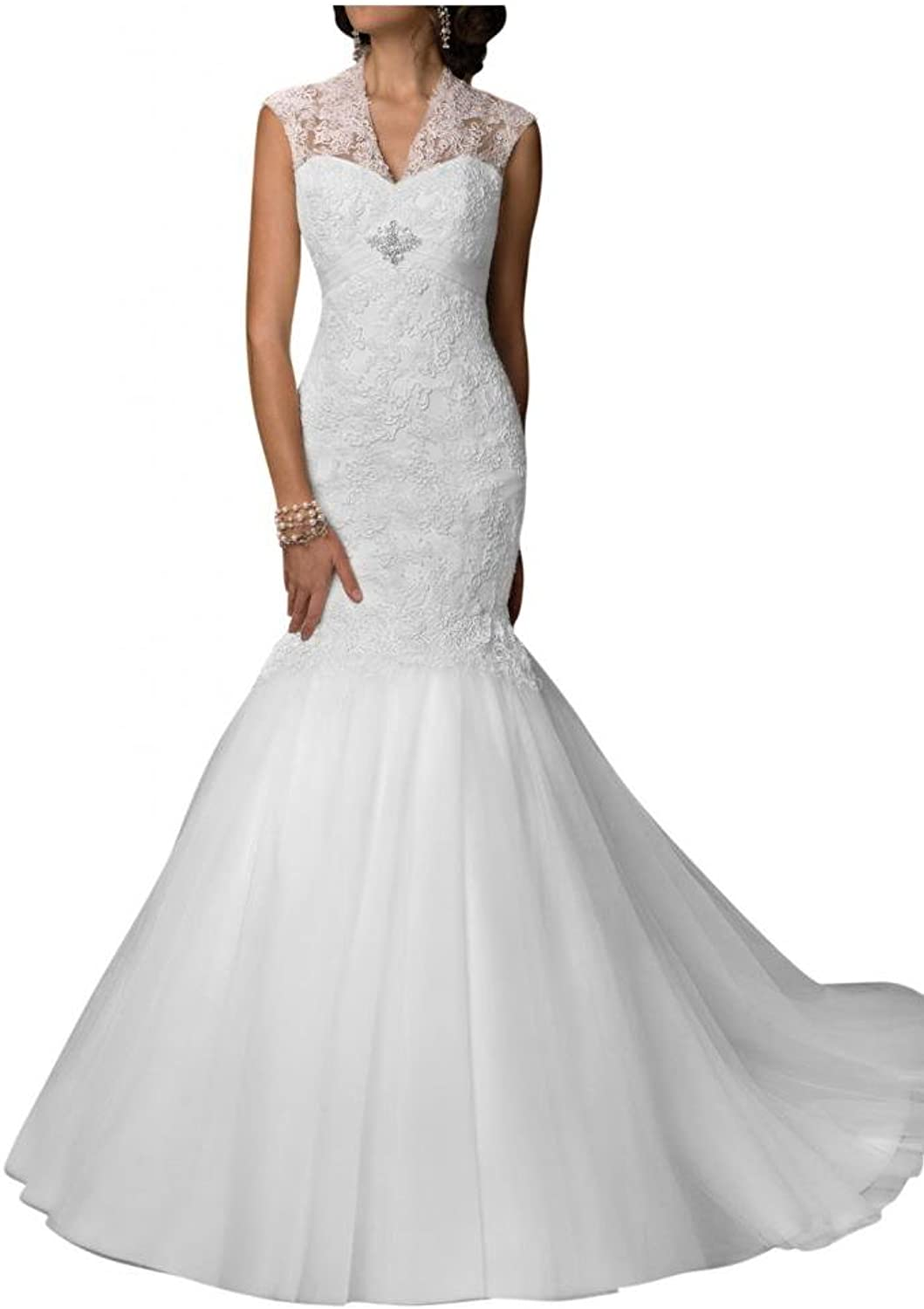 Angel Bride 2016 New Dresses Mermaid Wedding Dresses VNeck Tulle