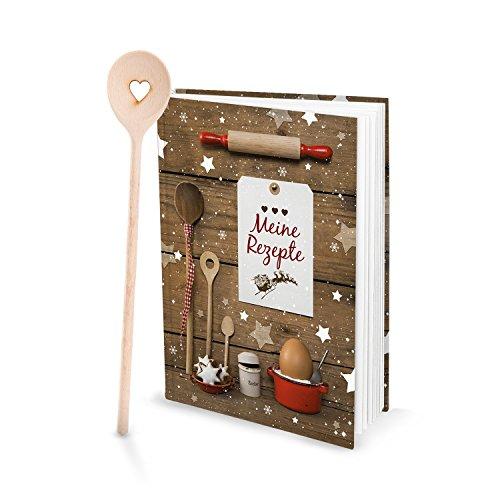 Cadeauset receptenboek zelf schrijven mijn recepten + kooklepel hart kerstkoekjes rood wit kerstgebak koekjes recepten Kerstmis bakkken bakboek geschenk Kerstmis