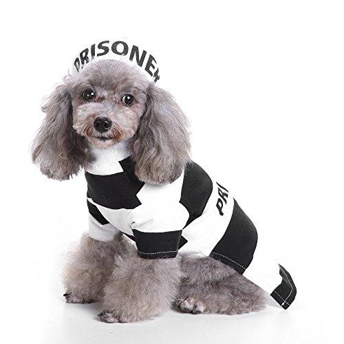 ZDJR Gefangener Hund Kostüm, Gefängnis Hündchen Hund Halloween Kostüm Party, Haustier Hund Kostüm Kleidung Cosplay mit Hut,Schwarz,XL