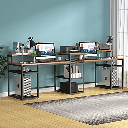 Tribesigns Two Person Desk with Double Monitor Stand, 110 inches Long 2 Person Computer Desk with Printer Storage Shelves,Double Workstation Desk Kid Study Writing Table for Home Office, Retro