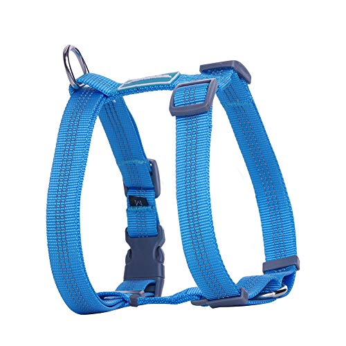 ThinkPet Reflective Adjustable Comfort Nylon Dog Halter Harness, Easy On and Off, No Choke Dog Walking Harness L Blue