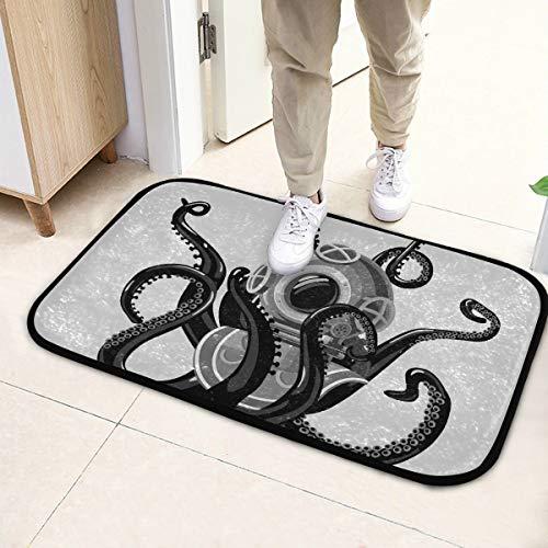 N\A Alfombrillas Interiores Traje de Buceo Vintage Octopus Retro Scuba Mens Felpudo 23.6x15.7 Pulgadas (60x40cm) Microfibra Lavable para jardín Oficina Cocina Comedor Comedor Decoración