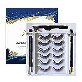 Non Magnetic Eyelashes with Eyeliner, Glue Free Mink Magnetic Lashe Upgraded Kit,Magic Self Adhesive Eyeliner and Reusable False Eyelashes,6 Pairs Waterproof False Eyelashes with and Tweezers