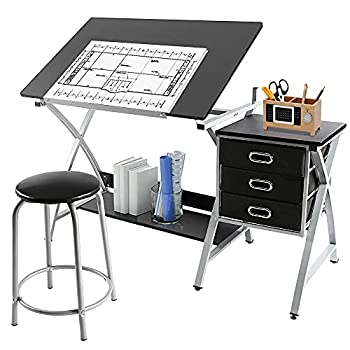 Yaheetech Adjustable Drafting Table Drawing Table Art Craft Desk for Adults w/Stool and Storage Drawers Studio Design Work Station