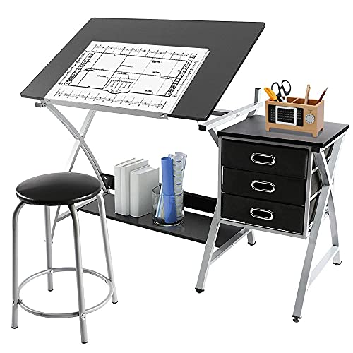 Yaheetech Drafting Desk, Drawing Table for Artists/Adults, Art Desk w/Stool and 3 Slide Drawers, Painting Studio Design Work Station, Adjustable Tabletop